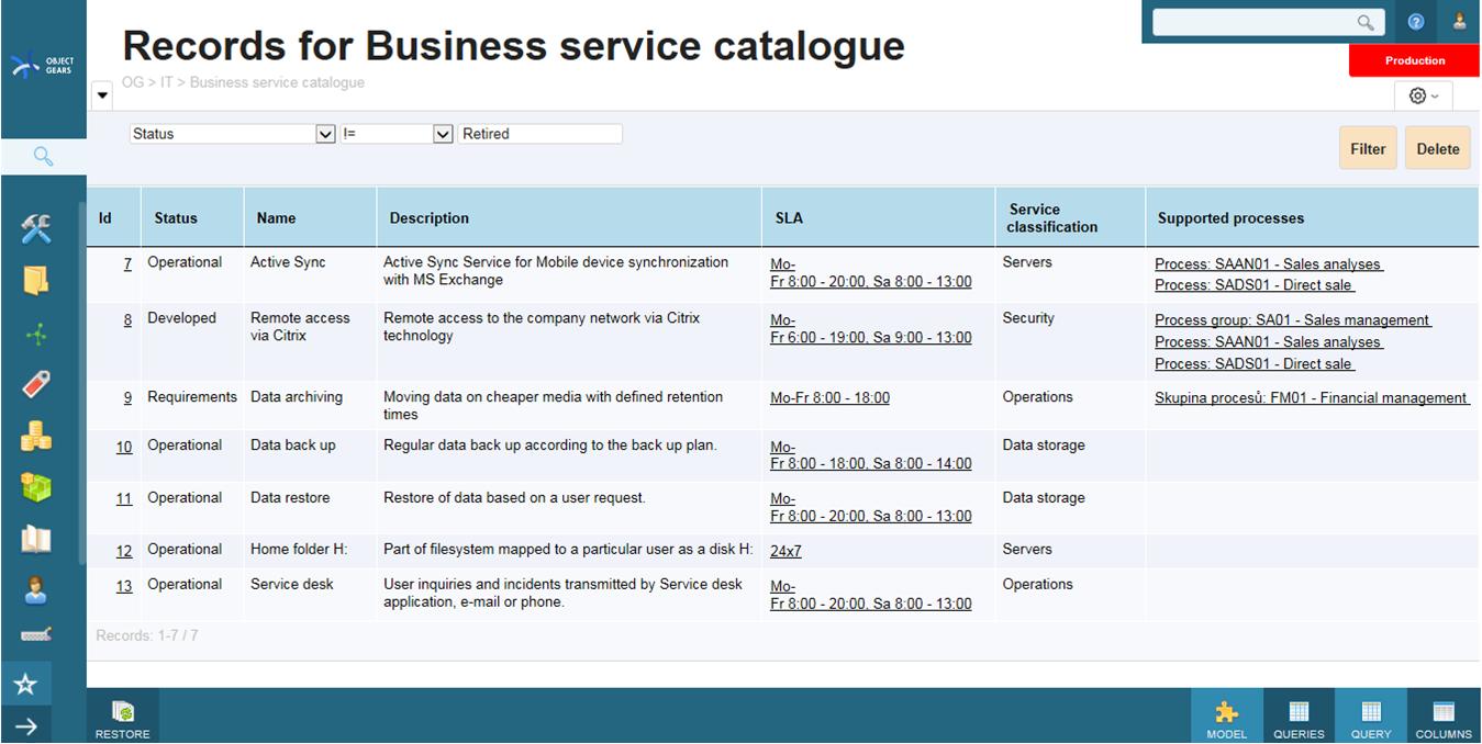 Service catalogue objectgears business service catalogue wajeb Choice Image